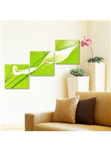 16×16in×3 Panels Green Background with Flowers Printed Crystal Film Waterproof Eco-friendly Framed Prints