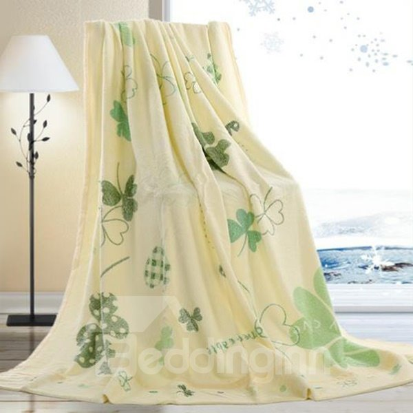Leaves Printing Natural Bamboo Fiber Towel Blanket