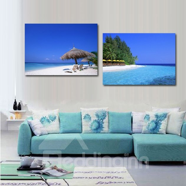 Pretty Summer Beach 2-Piece Crystal Film Art Wall Print