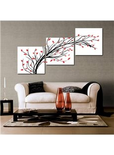 16×16in×3 Panels Black Branches and Red Leave Hanging Canvas Waterproof Eco-friendly Framed Prints