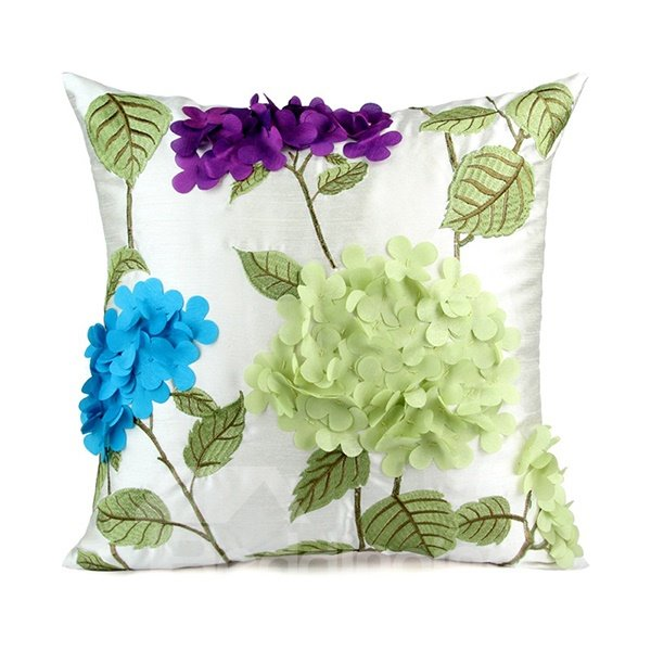 Creative Embroider  Style Bamboo Cloth Throw Pillow