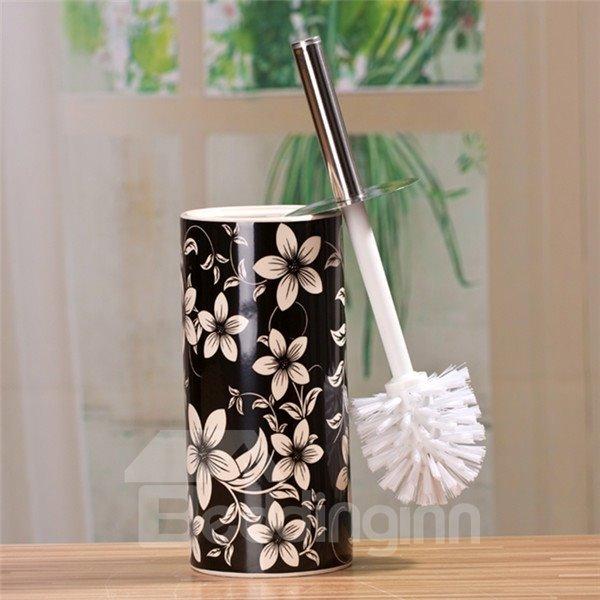 The Vase Type Suit Black And White Decorative Pattern Ceramic  Toilet Brush