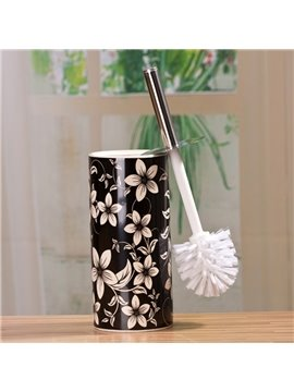 The Vase Type Suit Black And White Decorative Pattern Ceramic  Toilet Brush