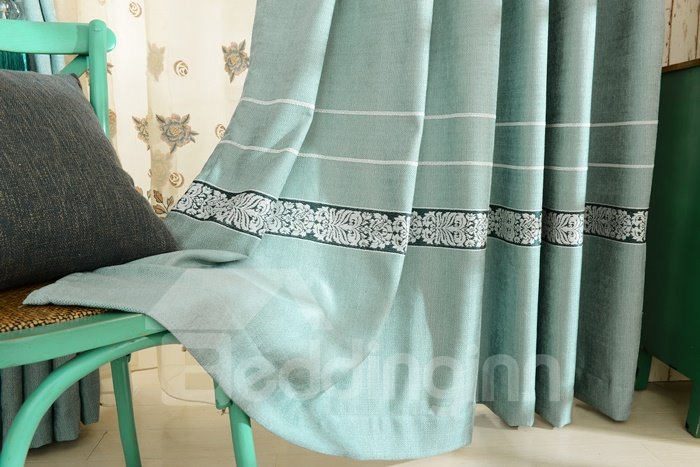 Fresh and Elegant Blue Chenille Jacquard Grommet Top Curtain