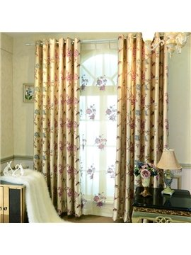 Elegant Luxury Peony Embossed Jacquard Grommet Top Curtain