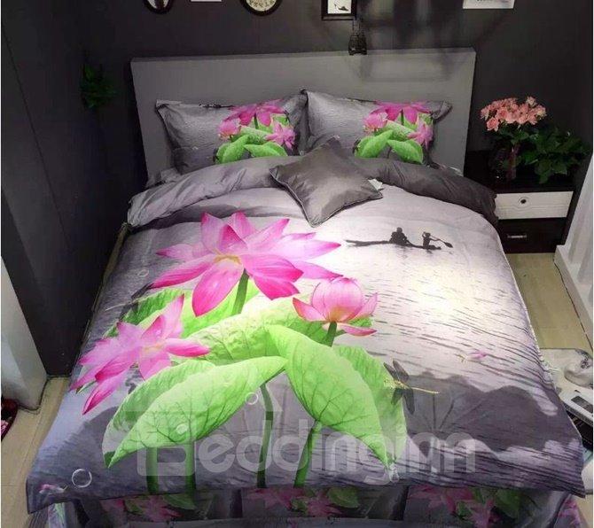 Vivid Pink Lotus Print 4-Piece Cotton Duvet Cover Sets