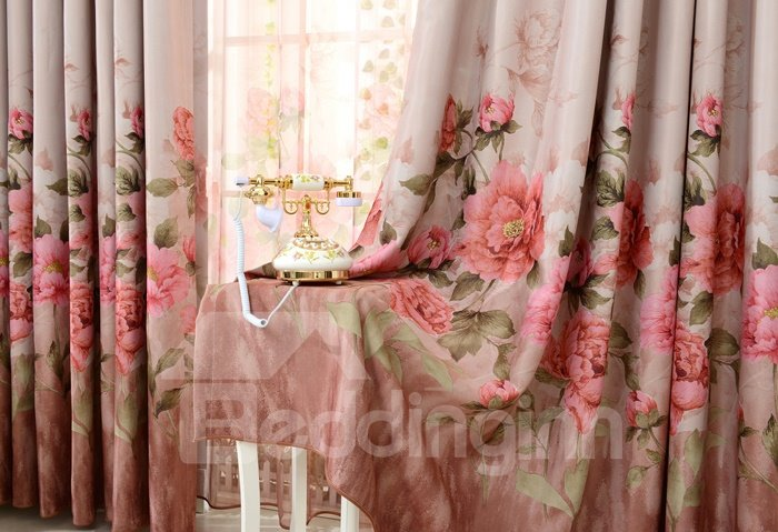 Elegant Floral Print High Shading Degree Grommet Top Curtain