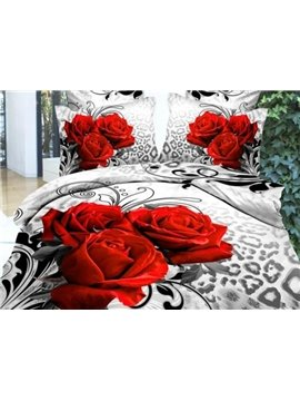 Fancy Three Red Roses Print Fitted Sheet