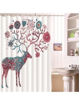 New Product Rich Deer Waterproof Mould Proof  Shower Curtains