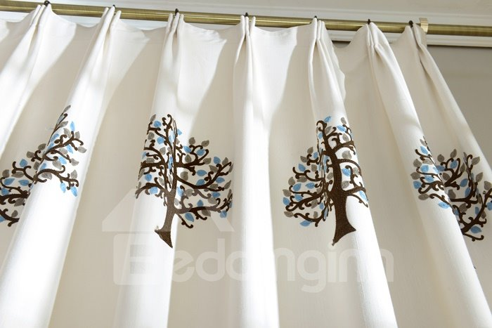 Contemporary Tree Pattern High Shading Degree Pinch Pleat Curtain