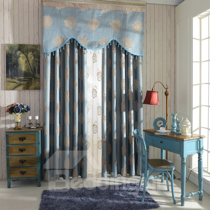 European Style Top Class Chenille Floral Embossment Light Blocking Curtain