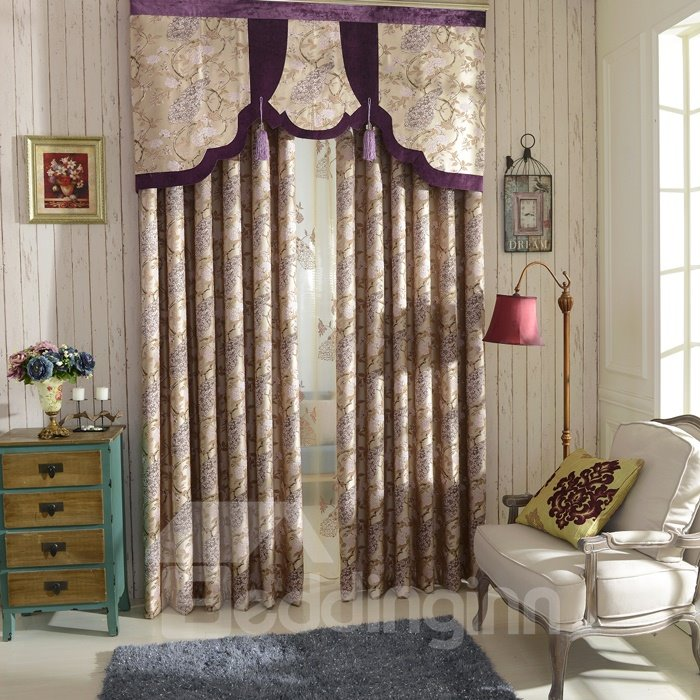 European Style Chenille Peacock Embossed High Shading Degree Curtain