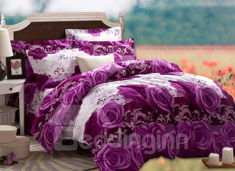 3d Purple Rose Printed Cotton 4 Piece Full Size Bedding