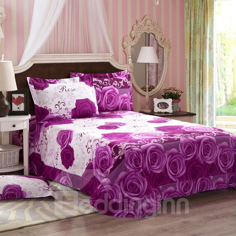 3D Purple Rose Printed Cotton 4-Piece Full Size Bedding Sets/Duvet Covers