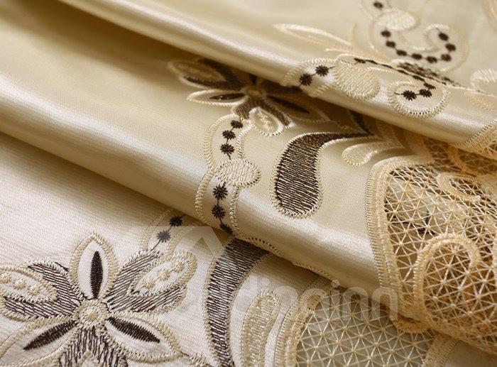 Golden Luxury Unique Pattern Embroidery Grommet Top Curtain