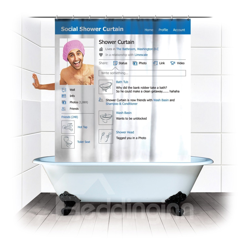 Creative Blue Facebook  waterproof  Shower Curtains