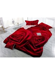 High-Definition Digital Print 4-Piece Red Rose Satin Cotton Duvet Cover Sets