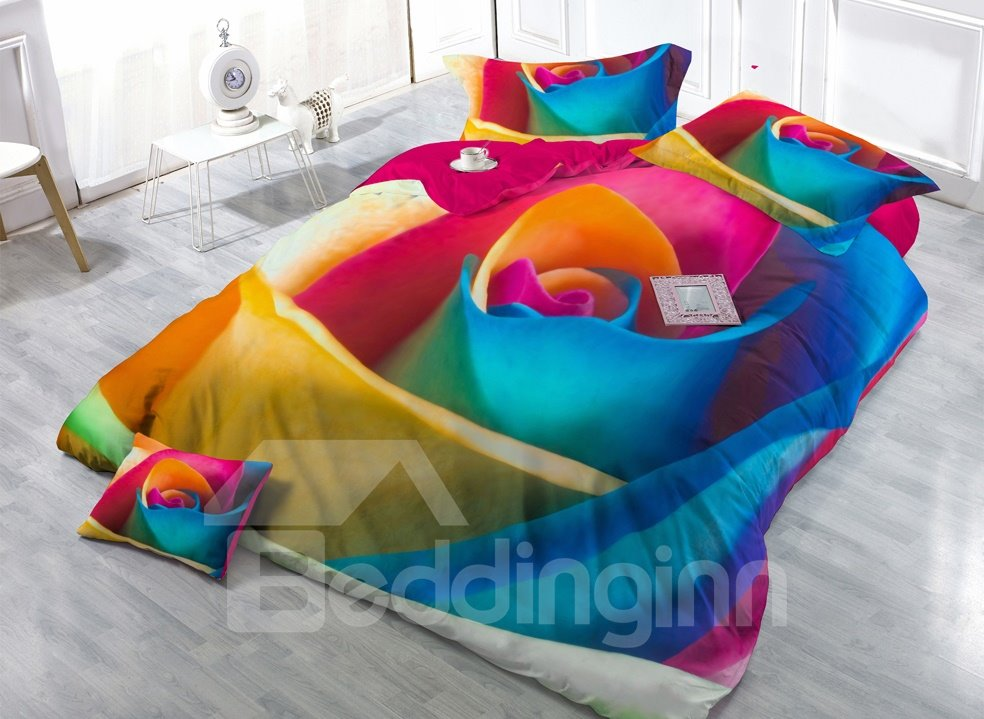 Big Colorful Rose Digital Print 4-Piece Satin Cotton Duvet Cover Sets