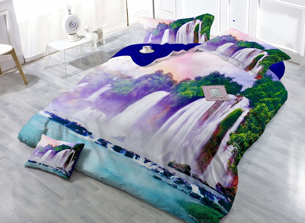 Down-Flowing Waterfall Digital Print 4-Piece Satin Cotton Duvet Cover Sets beddinginn