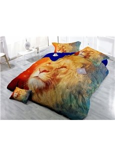 Smart King Digital Print 4-Piece Satin Cotton Duvet Cover Sets