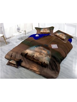 World in the Mirror Digital Print 4-Piece Satin Cotton Duvet Cover Sets