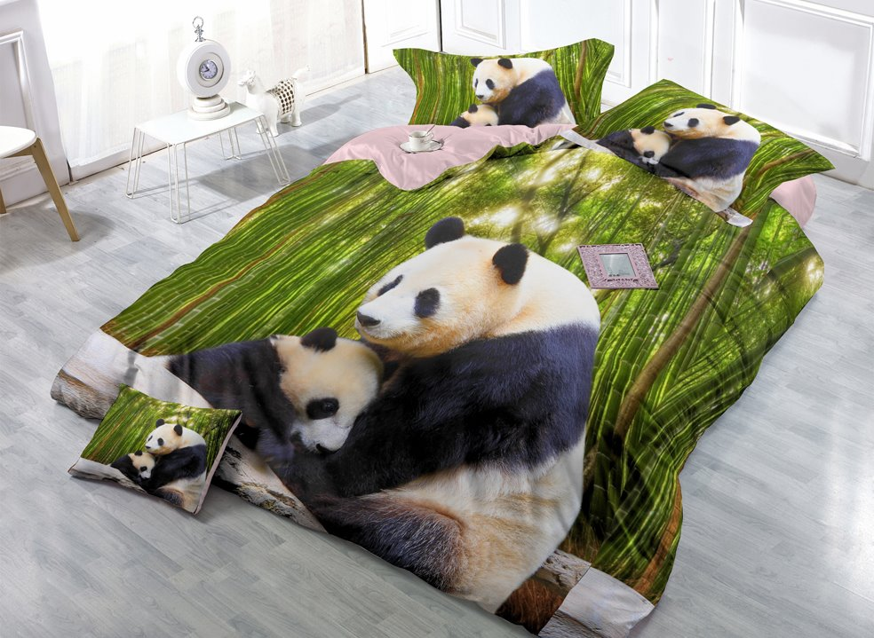 3D Panda & Bamboo Digital Print 4-Piece Silky Bedding Sets/Duvet Covers