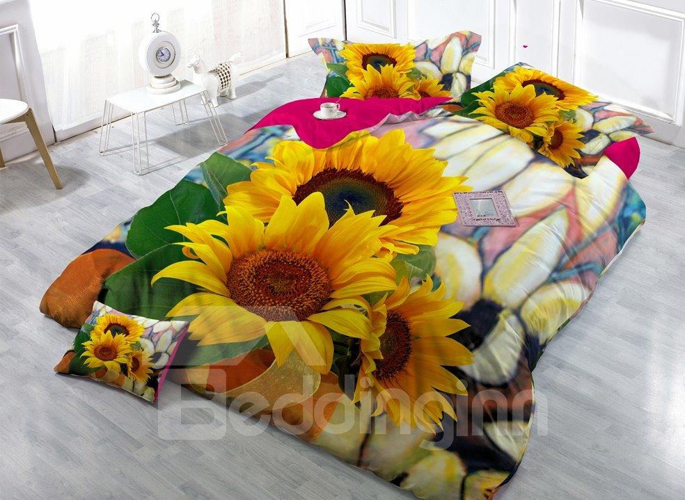 Splendid Sunflower Digital Print 4-Piece Cotton Silky Duvet Cover Sets