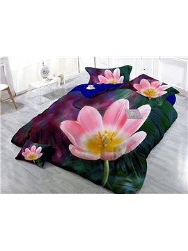 Adorable Pink Flower Digital Print 4-Piece Cotton Silky Duvet Cover Sets