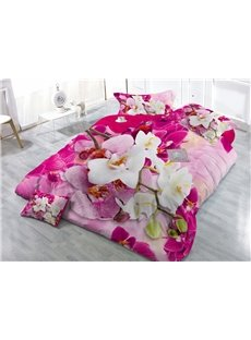 Personalized Digital Print Butterfly Orchid 4-Piece Cotton Duvet Cover Sets