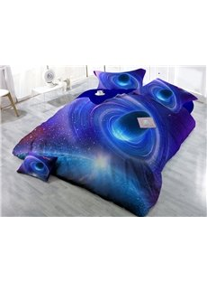 Shining Blue Planet Digital Print 4-Piece Cotton Duvet Cover Sets