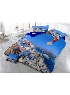 Cozy Coastal City Digital Print 4-Piece Cotton Duvet Cover Sets