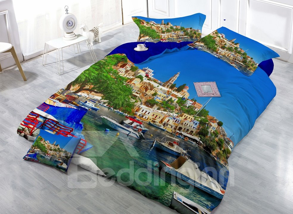 Personalized Tourist Resort Digital Print 4-Piece Cotton Duvet Cover Sets
