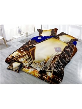 Brilliant City in Night Print 4-Piece Cotton Duvet Cover Sets