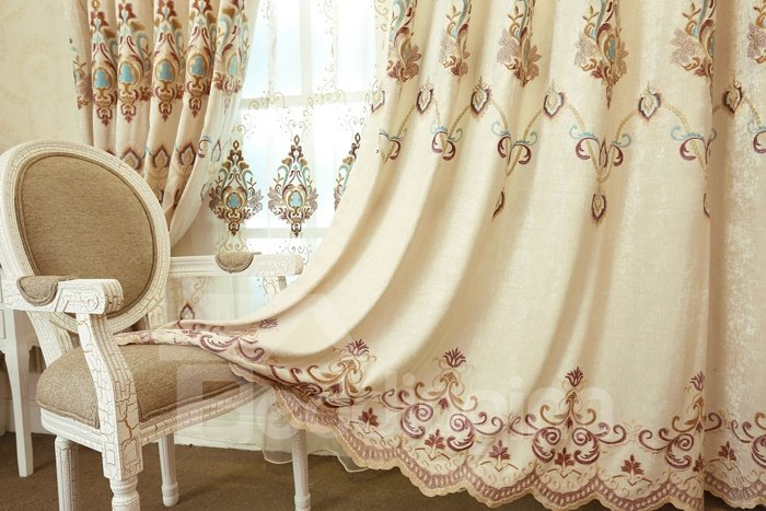 Top Class Shining Chenille Embroidery Grommet Top Curtain