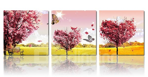 Sunny Autumn Scenery Maple Tree 3-Piece Crystal Film Art Wall Print