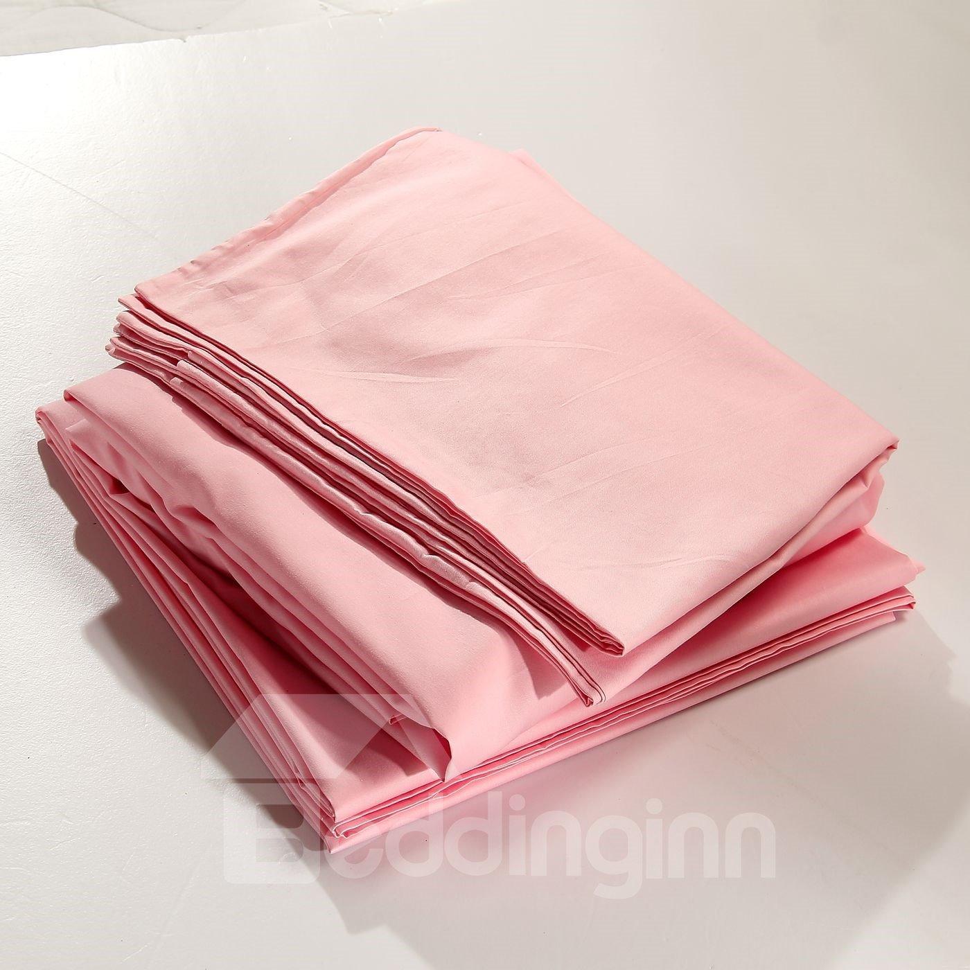 Exquisite Workmanship Bright Pink 4-Piece Cotton Sheet Set