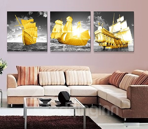 Perfect Plain Sailing 3-Piece Crystal Film Art Wall Print