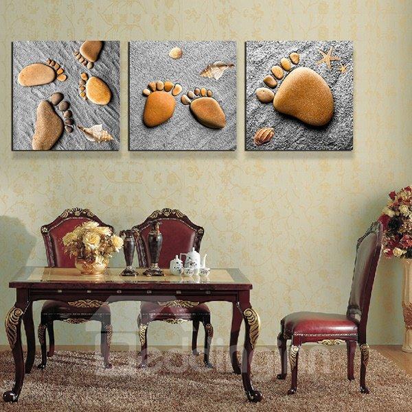 Cute Pebble Footprints Kids Will Love 3-Piece Crystal Film Art Wall Print