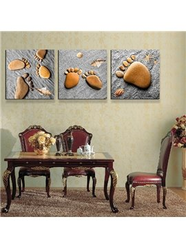 Cute Pebble Footprints Kids Will Love 3-Piece Crystal Film Art Wall Print