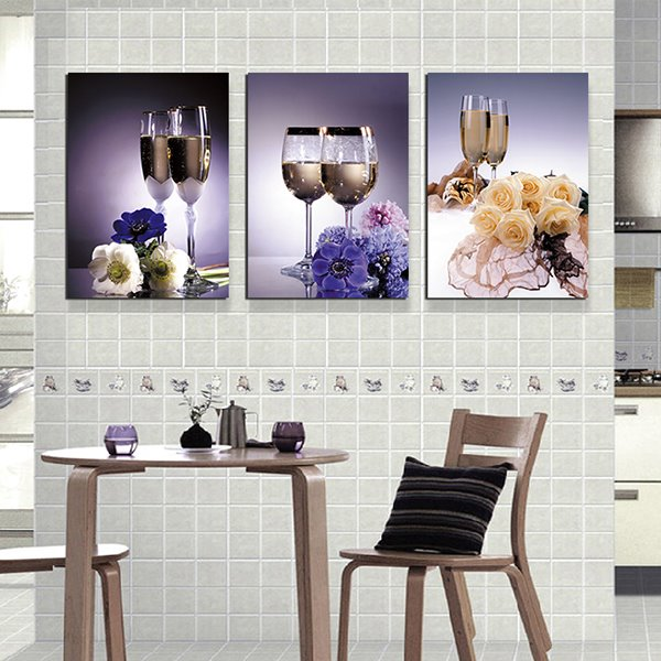 Bar Kitchen Theme 3-Piece Crystal Film Art Wall Print