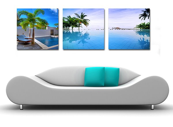 Tropical Resort Scenery 3-Piece Crystal Film Art Wall Print