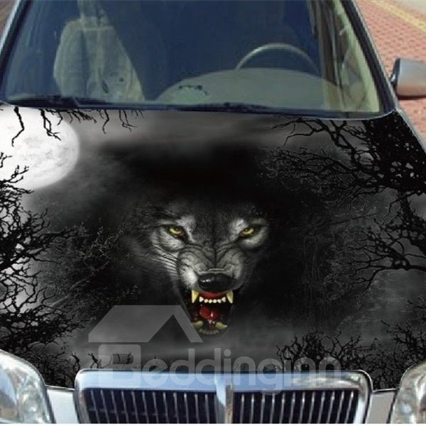 Dark Night And Wolf Head Printing Car Engine Sticker