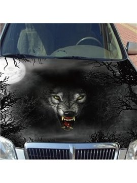 Dark Night And Wolf Head Printing Car Engine Sticker