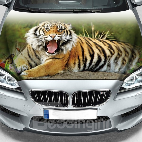 Vivid Tiger Printing Customized Sun Block PVC Car Engine Sticker