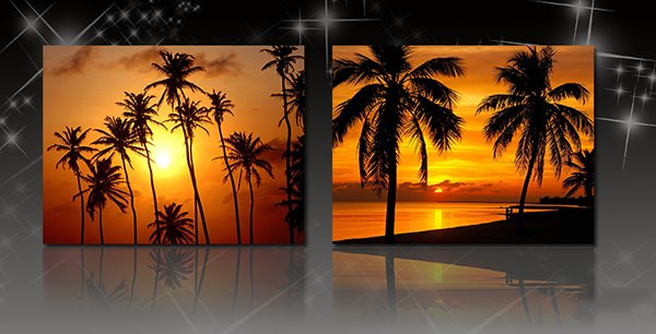 Tropical Island Sunset 2-Piece Crystal Film Art Wall Print