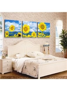 Bright Sunflowers 3-Piece Crystal Film Art Wall Print