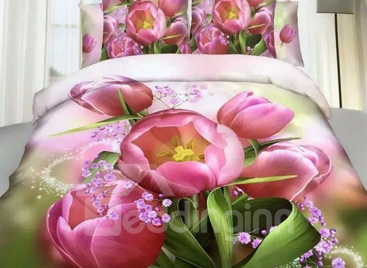 Tulip and Purple Flower Print 4-Piece Cotton Duvet Cover Sets