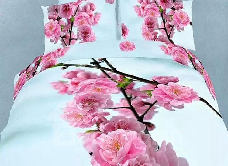 Red Plum Flower Print 4-Piece Cotton Duvet Cover Sets