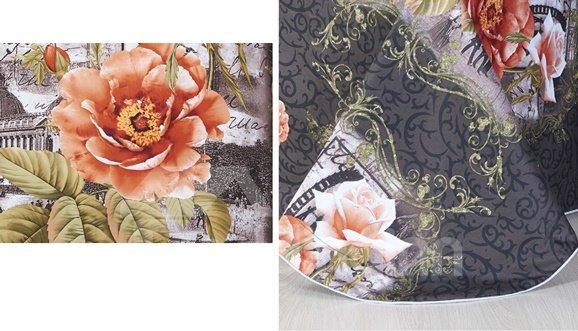Paris Buliding and Flower Print 4-Piece Cotton Duvet Cover Sets