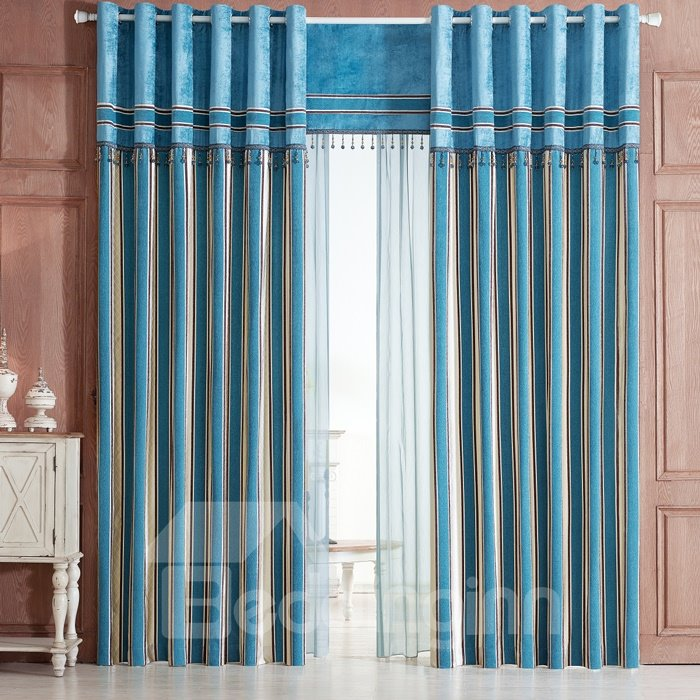Decoration Modern Classic Vertical Stripe Red and Blue Japanese Style Grommet Top Curtain